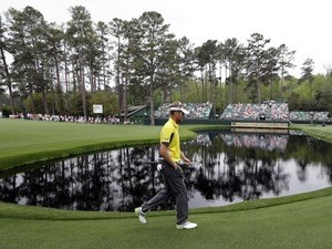 Englishman David Lynn walks to the 15th green on day one of The Masters on April 11, 2013