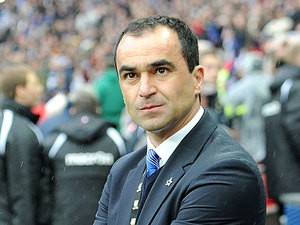 Wigan boss Roberto Martinez prior to kick off in the FA Cup semi final match against Millwall on April 13, 2013