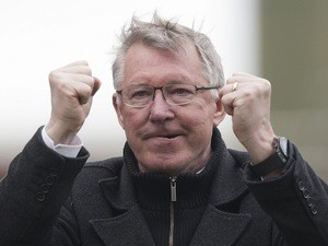 Utd manager Sir Alex Ferguson celebrates his teams 2-0 win over Stoke on April 14, 2013