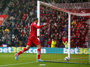 Southampton's Gaston Ramirez celebrates scoring the opening goal during the Premier League clash with West Ham on April 13, 2013
