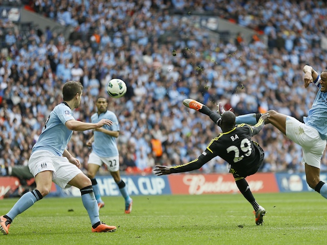 Chelsea striker Demba Ba scores against Man City on April 14, 2013