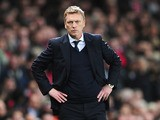 Everton manager David Moyes watches his side's match against Arsenal on April 16, 2013