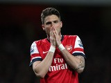 Arsenal's Olivier Giroud rues a missed chance in the Premier League match with Everton on April 16, 2013