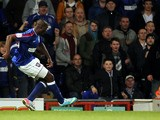 Ipswich Town's Frank Nouble scores during the Championship clash with Crystal Palace on April 16, 2013