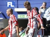 Stoke forward Peter Crouch celebrates a goal against QPR on April 20, 2013
