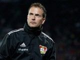 Leverkusen coach Sascha Lewandowski on the touchline on September 26, 201