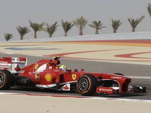 Ferrari driver Felipe Massa of Brazil steers his car during the second practice session of Bahrain Formula One Grand Prix on April 19, 2013