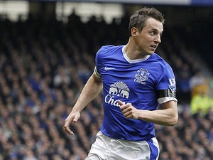 Everton's Phil Jagielka in action on April 13, 2013
