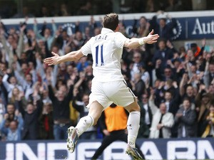 Tottenham Hotspur's Gareth Bale celebrates after scoring against Manchester City on April 21, 2013