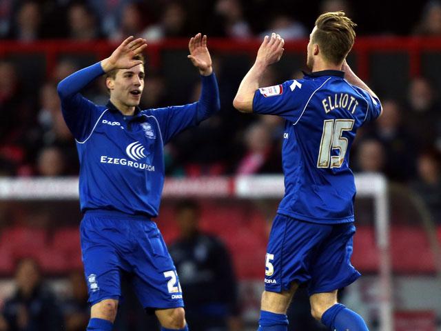 Birmingham City's Wade Elliott celebrates scoring in the Championship match with Bristol City on April 16, 2013
