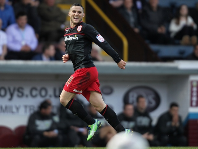 Cardiff's Craig Conway celebrates a goal against Burnley on April 20, 2013