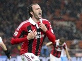 Milan's Giampaolo Pazzini celebrates a goal against Catania on April 28, 2013