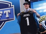 Jacksonville Jaguars first round draft pick Luke Joeckel on April 25, 2013