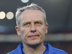 Freiburg head coach Christian Streich prior to the German cup match against Stuttgart on April 17, 2013