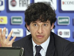 Deputy Head of the Italian Soccer Federation Demetrio Albertini speaks during a press conference on May 28, 2012