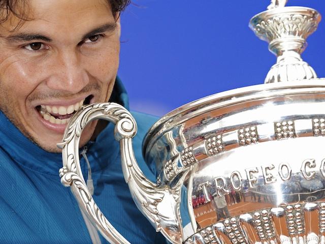 Rafael Nadal celebrates his Barcelona Open Final win on April 28, 2013