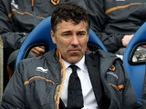 Wolves Manager Dean Saunders looks dejected during the Championship match against Brighton and Hove Albion on May 4, 2013