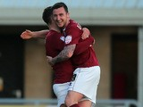 Northampton Town's Roy O'Donovan celebrates scoring against Cheltenham Town on May 2, 2013