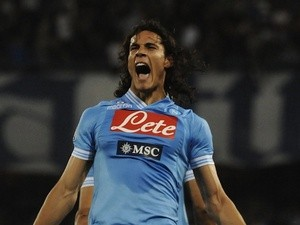 Napoli's Edinson Cavani celebrates a goal against Inter May 5, 2013