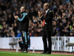 Managers Paulo Di Canio and Paul Lambert applaud, during the game between Villa and Sunderland on April 29, 2013