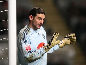 Plymouth Argyle goalkeeper Romain Larrieu during the FA Cup clash against Newcastle United on January 13, 2010