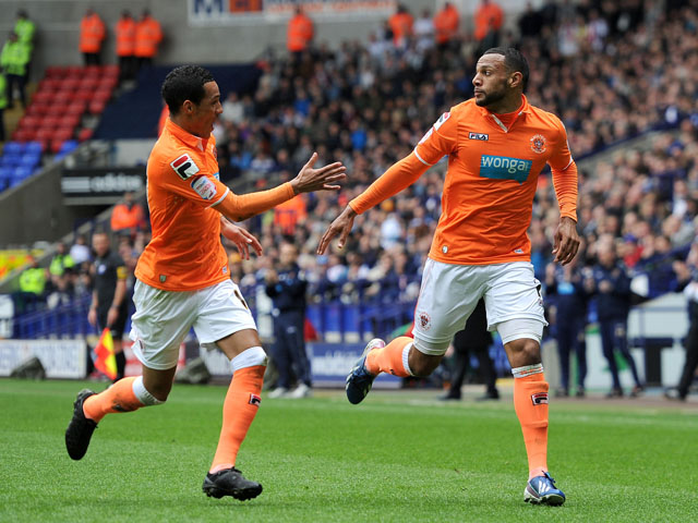 Blackpool's Matt Phillips celebrates scoring against Bolton Wanderers on May 4, 2013