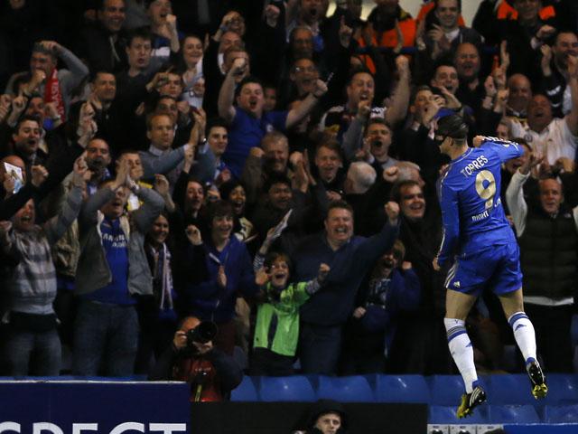Chelsea's Fernando Torres celebrates scoring against FC Basel on May 2, 2013