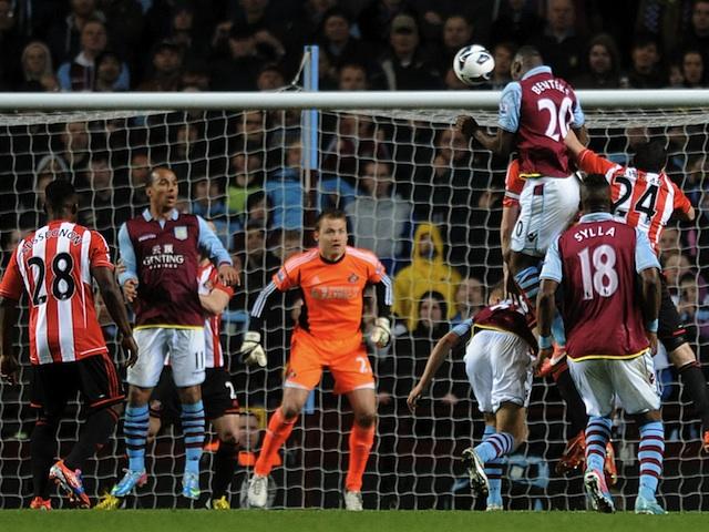 Villa striker Christian Benteke scores against Sunderland on April 29, 2013