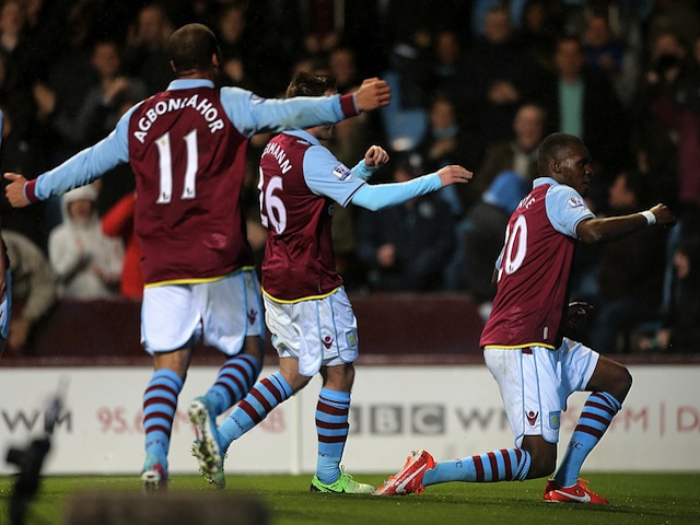 Villa's Christian Benteke celebrates his hat-trick goal against Sunderland on April 29, 2013