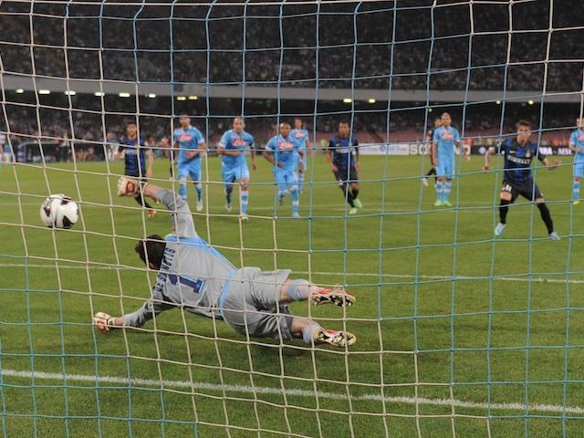 Inter's Ricardo Alvarez scores a penalty against Napoli on May 5, 2013