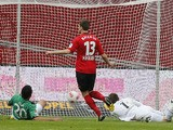 Leverkusen's Jens Hegeler scores during the Bundesliga clash with Hannover on May 11, 2013