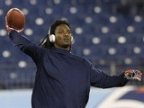 Titans RB Chris Johnson warms up before a game with the Jets on December 17, 2012