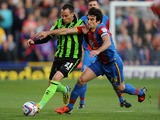 Crystal Palace's Mile Jedinak and Brighton's David Lopez battle for the ball on May 10, 2013