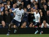Spurs striker Manu Adebayor celebrates a wonder goal against Chelsea on May 8, 2013