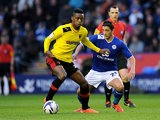 Watford's Nathaniel Chalobah and Leicester City's Anthony Knockaert battle for the ball on May 9, 2013
