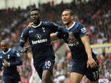 Tottenham Hotspur's Emmanuel Adebayor celebrates scoring against Stoke on May 12, 2013