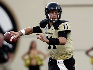 Vanderbilt quarterback Jordan Rodgers in action on October 13, 2012