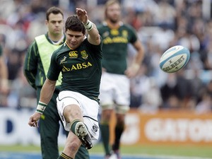 South Africa's Morne Steyn kicks a penalty during their match against Argentina on August 25, 2012