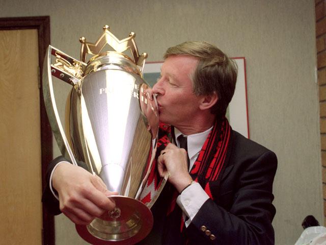 Alex Ferguson with the Premier League trophy in 1993