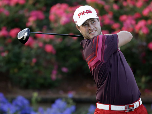 David Lingmerth hits from the 18th tee during the third round of The Players championship golf tournament on May 12, 2013