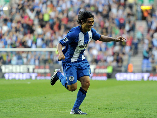 Wigan Athletic's Roger Espinoza celebrates scoring against Swansea City on May 7, 2013