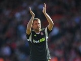 Michael Owen of Stoke applauds all corners of the ground after the match against Southampton on May 19, 2013