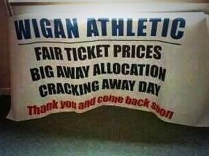 Aston Villa fans' banner for the match at Wigan Athletic