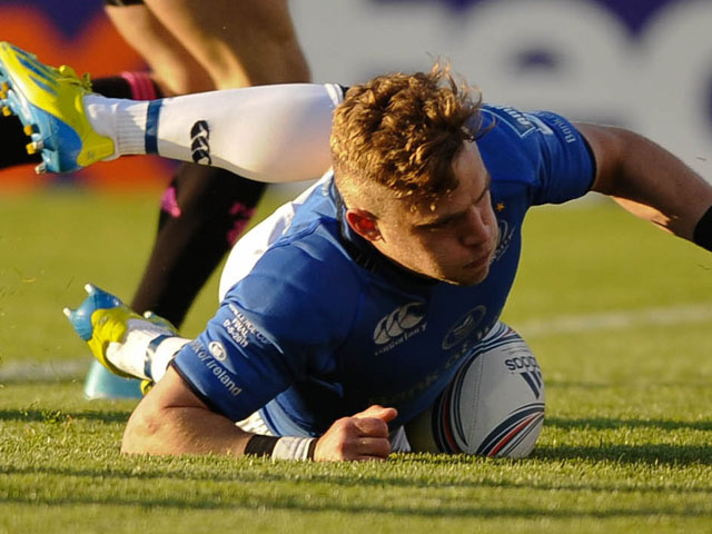 Leinster's Ian Madigan scores a try against Stade Francais during the Challenge Cup Final on May 17, 2013