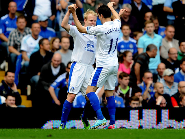 Everton's Steven Naismith celebrates scoring against Chelsea on May 19, 2013