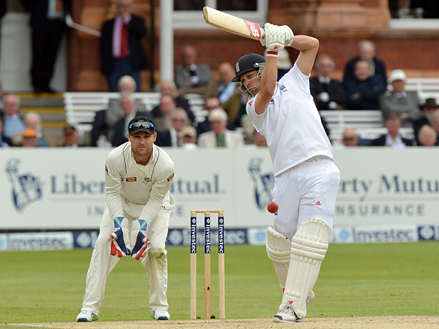 England's Jonathan Trott bats during day 3 of the first test against New Zealand on May 18, 2013