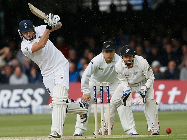 Jonny Bairstow plays a shot during the first test match against New Zealand at Lords on May 16, 2013