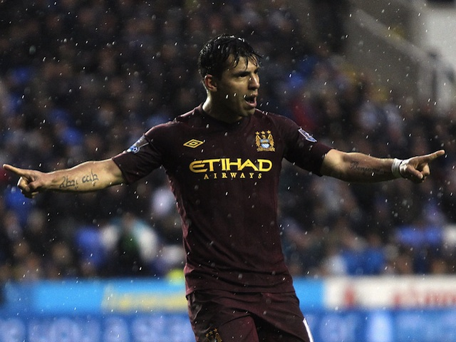 City striker Sergio Aguero celebrates a goal against Reading on May 14, 2013