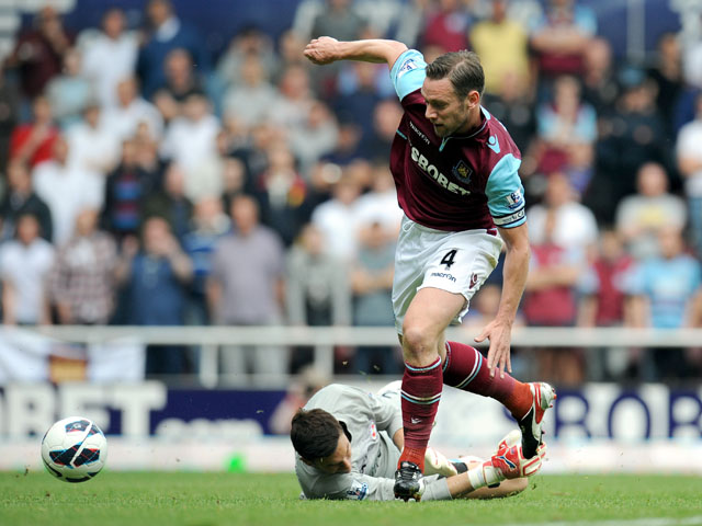 West Ham United's Kevin Nolan rounds Reading's Alex McCarthy to score during the Premier League match on April 19, 2013