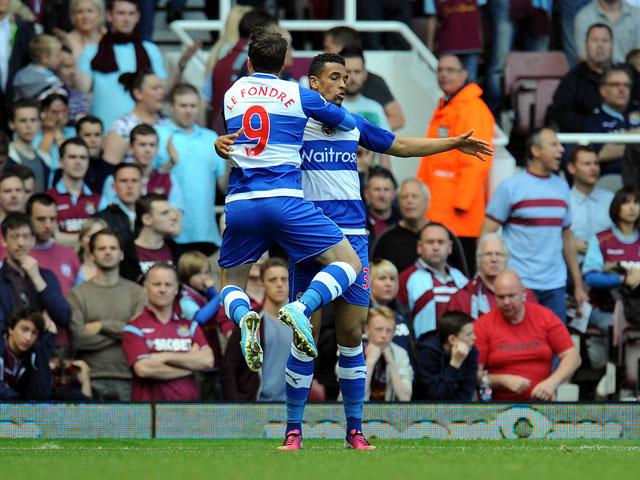 Reading's Adam Le Fondre celebrates scoring against West Ham on May 19, 2013